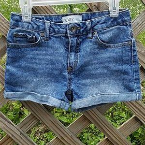 Sz 10 Roxy Cuffed Jean Shorts